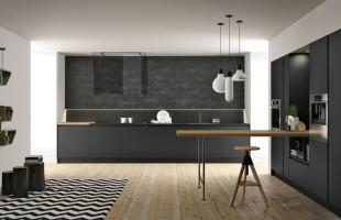 Doimo cucine, modello Aspen, anta in vetro con telaio in alluminio