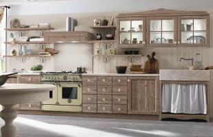 Cucina country Callesella in legno color creta talcato